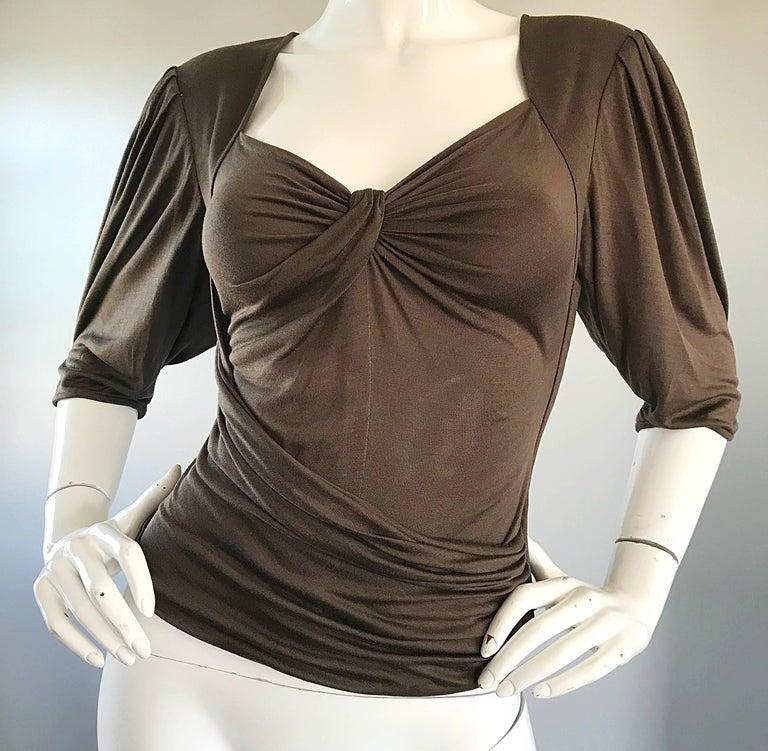 Vintage Emanuel Ungaro Silk Jersey Taupe Two Piece Harem Pants Ensemble Pant Set For Sale 4