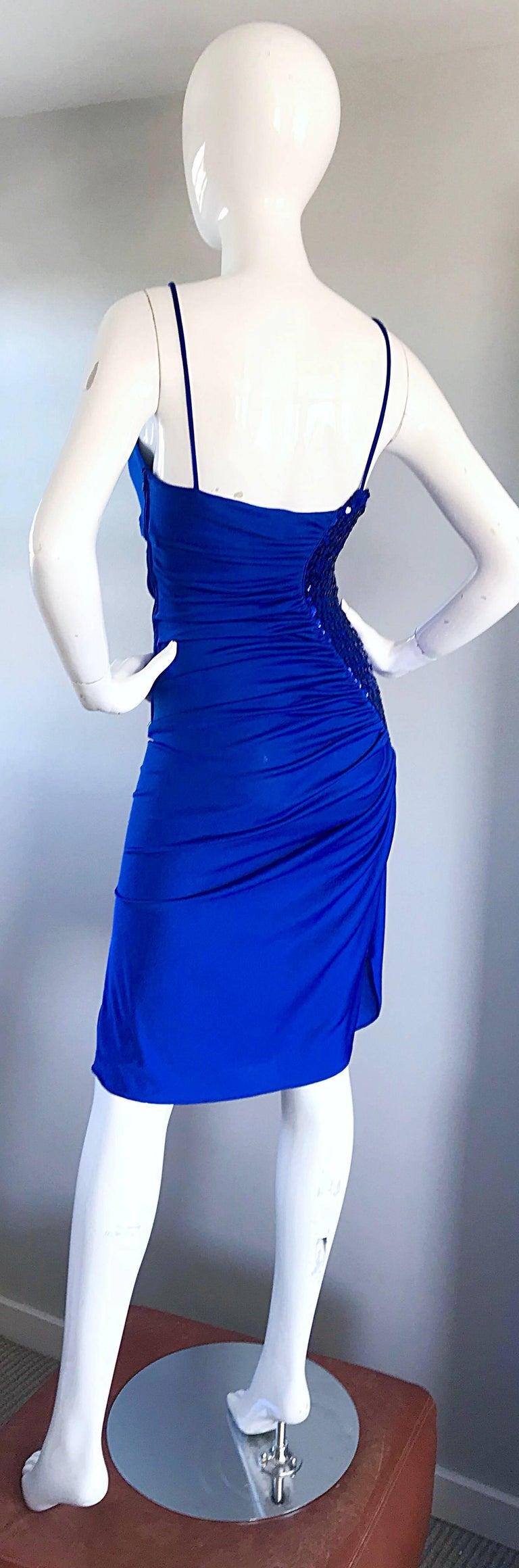 1980s Samir Royal Blue Jersey + Sequins Sexy Slinky Vintage 80s Disco Dress For Sale 6