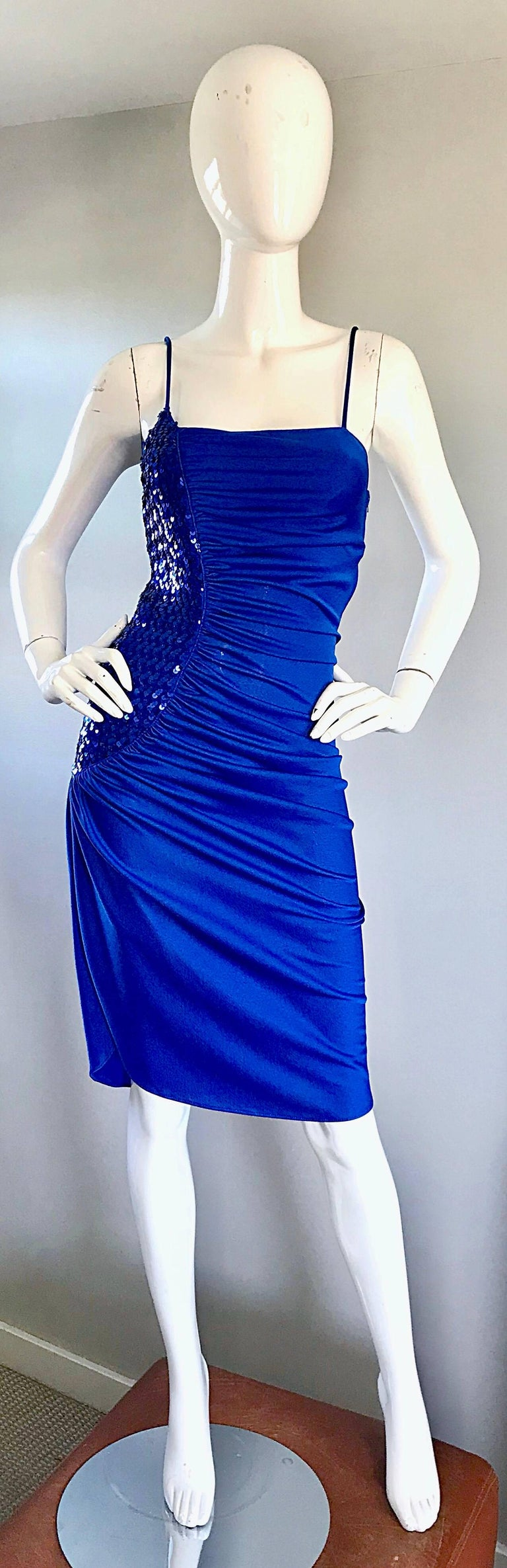 1970s Samir Royal Blue Jersey + Sequins Sexy Slinky Vintage 70s Disco Dress In Excellent Condition In Chicago, IL