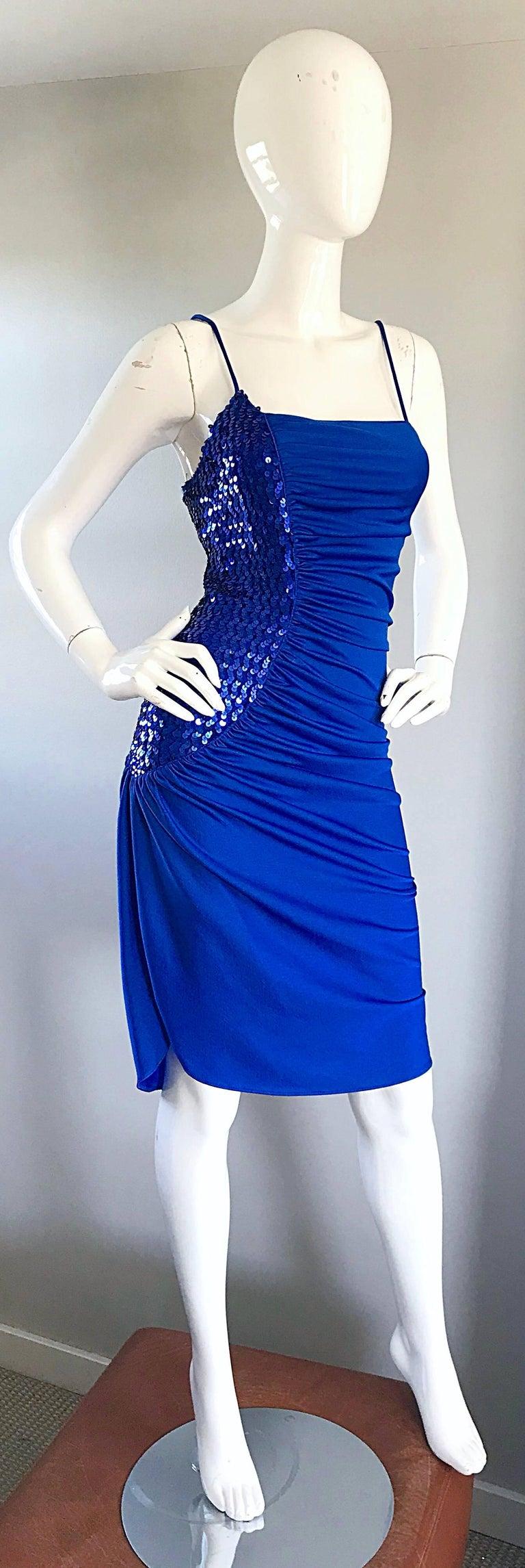 1970s Samir Royal Blue Jersey + Sequins Sexy Slinky Vintage 70s Disco Dress 2