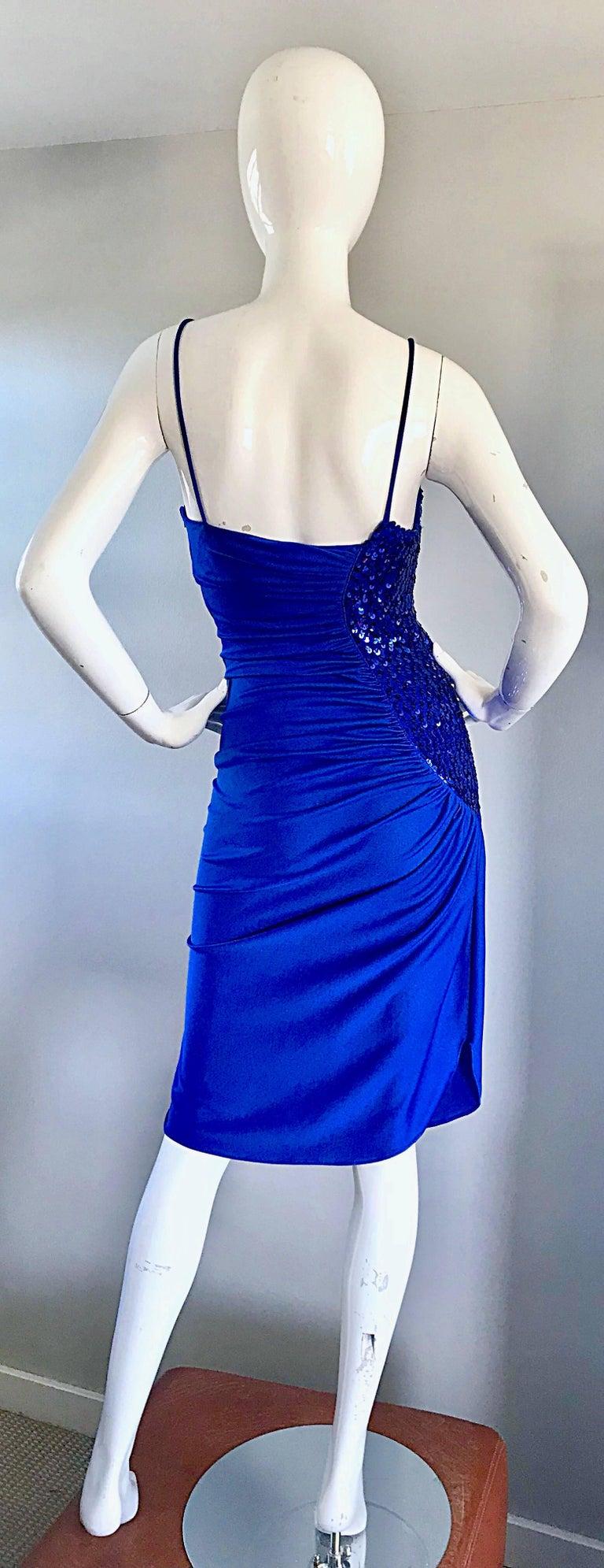 1980s Samir Royal Blue Jersey + Sequins Sexy Slinky Vintage 80s Disco Dress For Sale 4