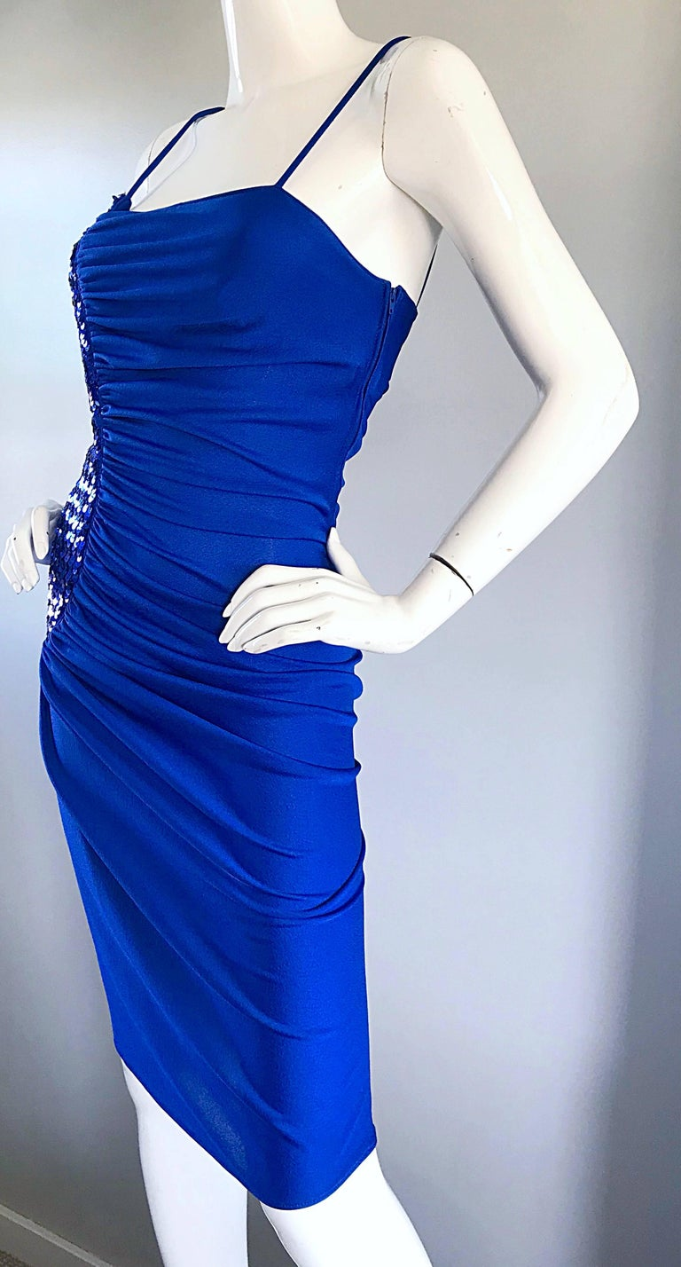 1970s Samir Royal Blue Jersey + Sequins Sexy Slinky Vintage 70s Disco Dress 1