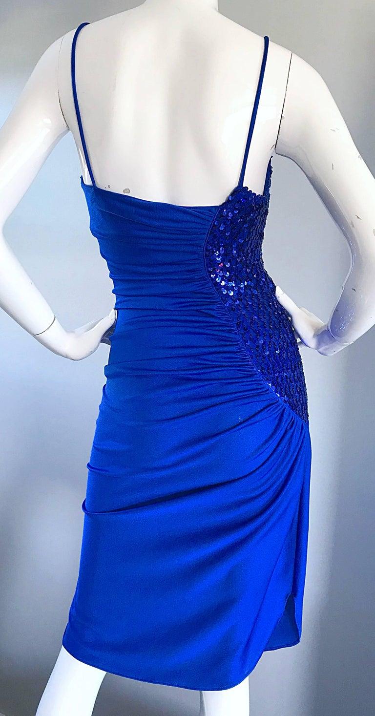 1970s Samir Royal Blue Jersey + Sequins Sexy Slinky Vintage 70s Disco Dress 5