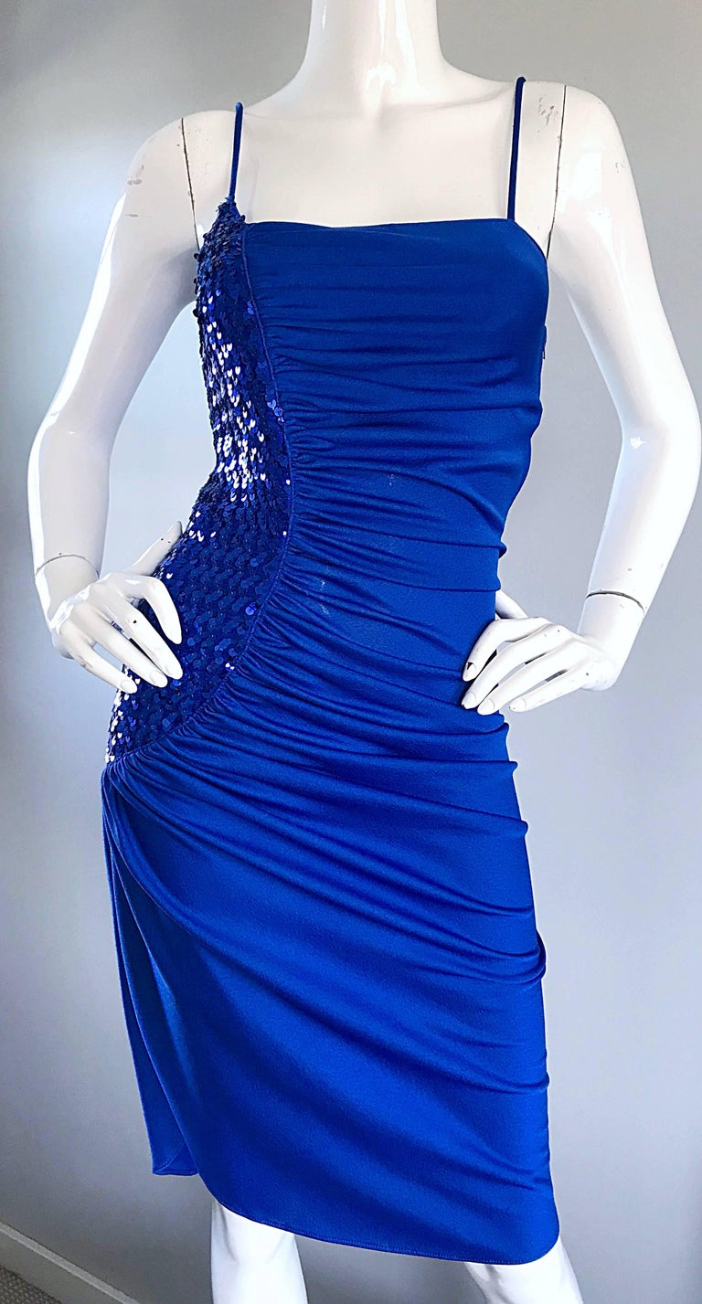 Women's 1980s Samir Royal Blue Jersey + Sequins Sexy Slinky Vintage 80s Disco Dress For Sale