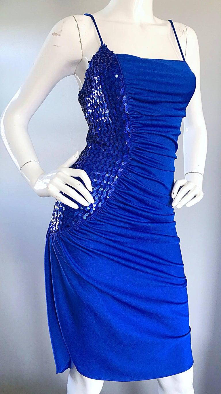 1980s Samir Royal Blue Jersey + Sequins Sexy Slinky Vintage 80s Disco Dress For Sale 3