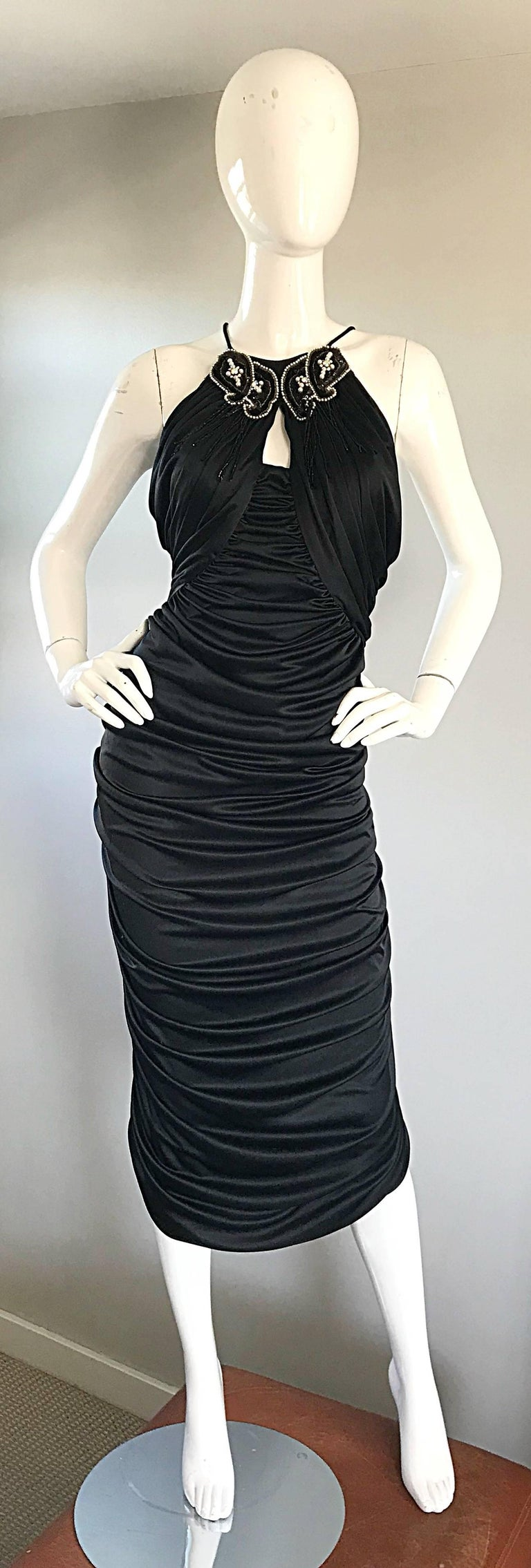 1970s Vintage Samir Black Beaded + Pearl + Rhinestone Sexy Ruched 70s Dress In Excellent Condition In Chicago, IL
