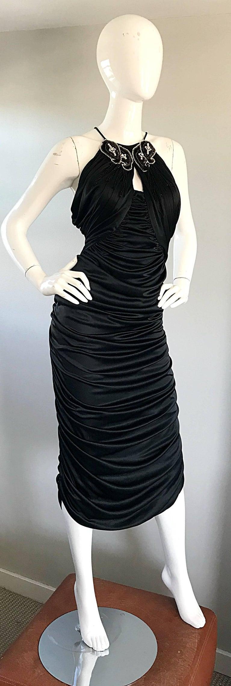 1970s Vintage Samir Black Beaded + Pearl + Rhinestone Sexy Ruched 70s Dress 3