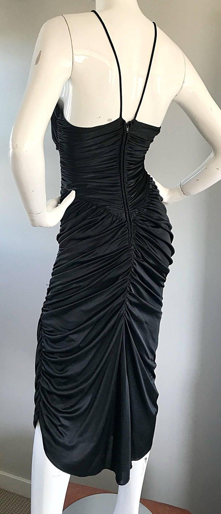 1970s Vintage Samir Black Beaded + Pearl + Rhinestone Sexy Ruched 70s Dress 6