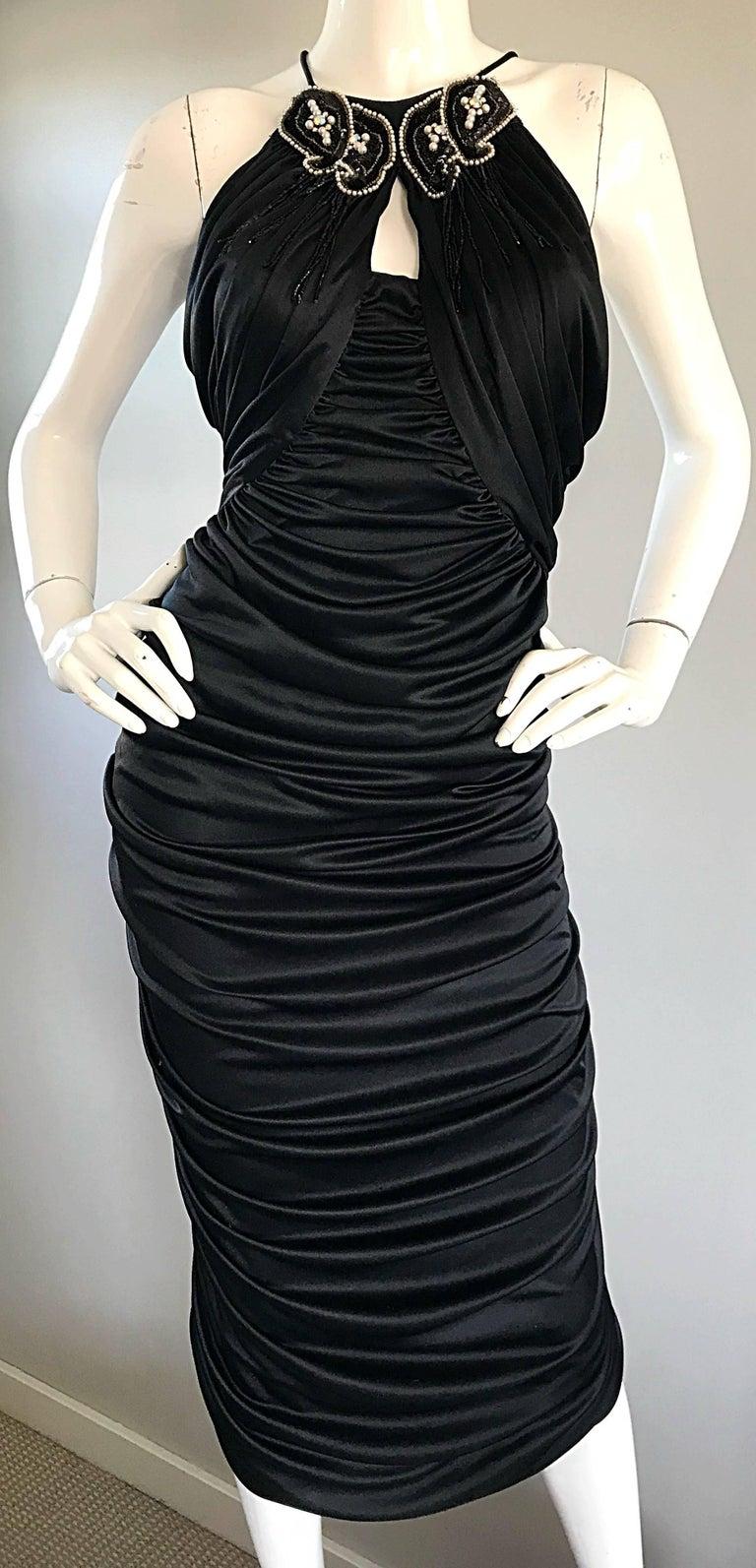 Women's 1970s Vintage Samir Black Beaded + Pearl + Rhinestone Sexy Ruched 70s Dress