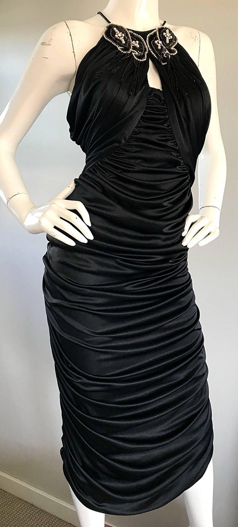 1970s Vintage Samir Black Beaded + Pearl + Rhinestone Sexy Ruched 70s Dress 4