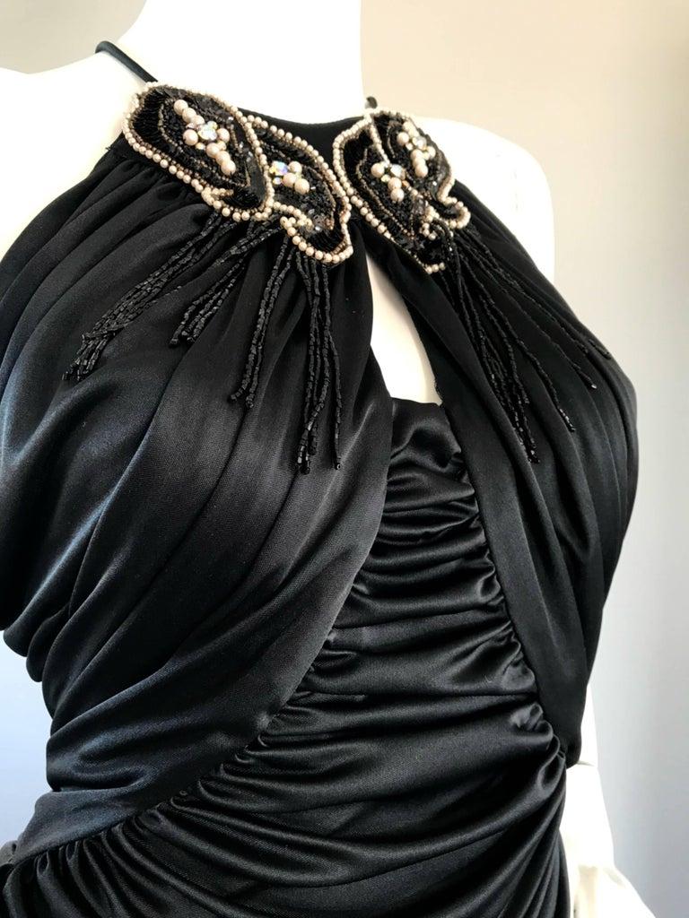 1970s Vintage Samir Black Beaded + Pearl + Rhinestone Sexy Ruched 70s Dress 5