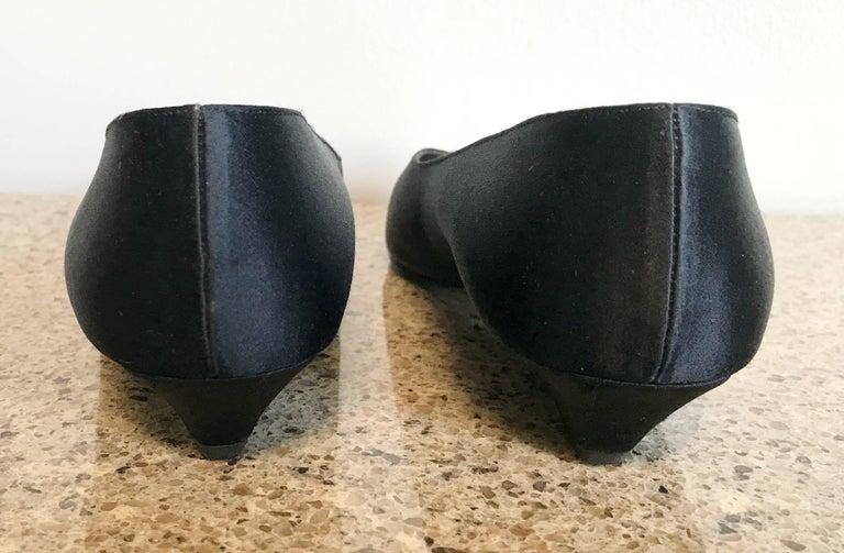 Vintage Thierry Mugler Size 7 1980s Avant Garde  Black Silk Satin Flats Shoes For Sale 5