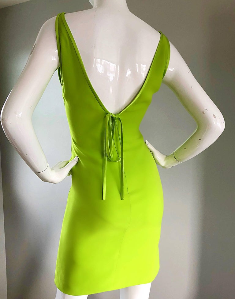 Vintage Valentino Lime Green 1990s Cut - Out Bodycon Sexy Size 4 Silk 90s Dress 6
