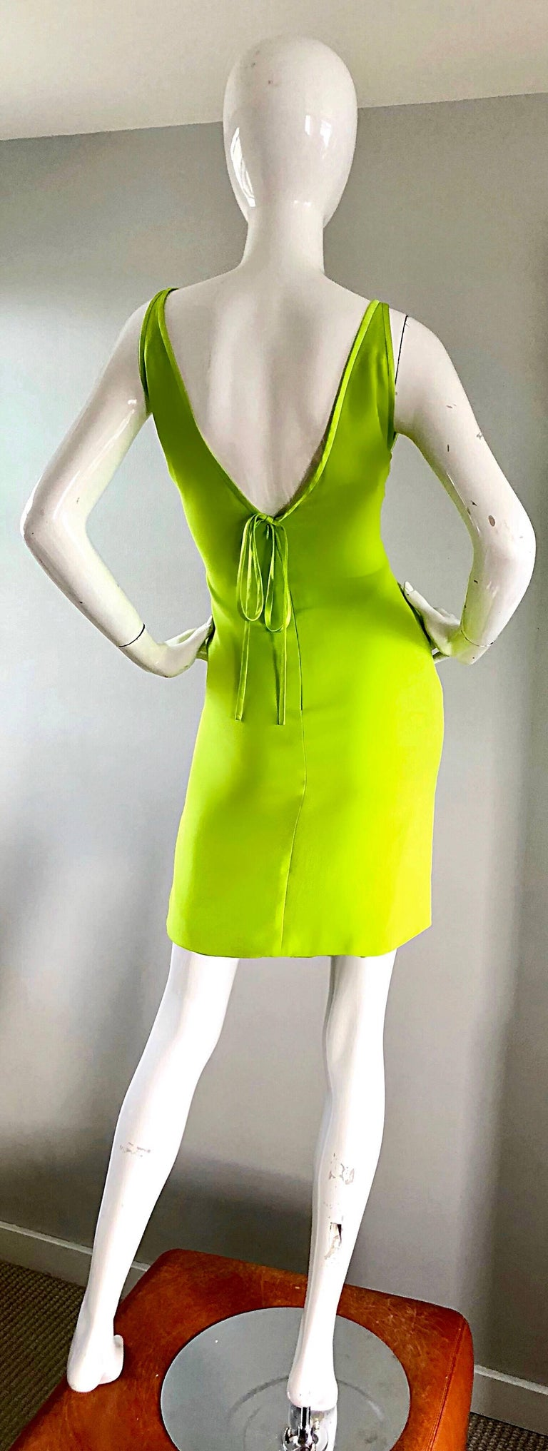 Vintage Valentino Lime Green 1990s Cut - Out Bodycon Sexy Size 4 Silk 90s Dress 5