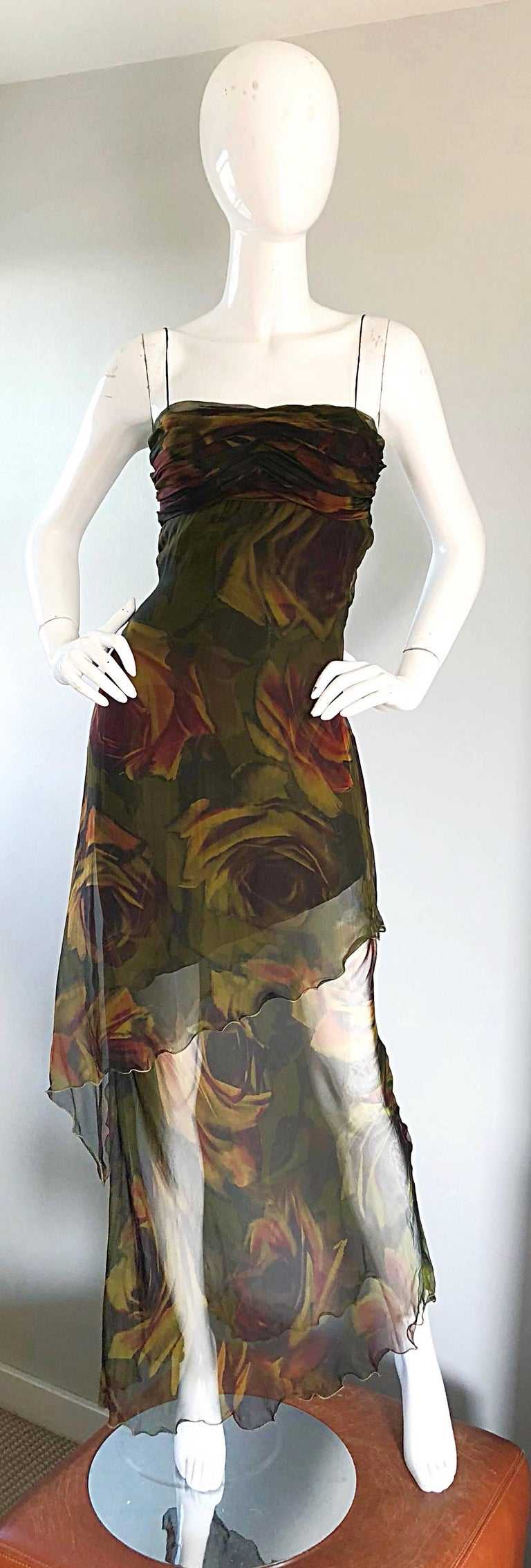 Sexy 1990s LUCA LUCA rose print silk chiffon hi-lo evening dress! Features a three dimensional print of roses in warm colors of hunter green, dark red, and chartreuse throughout. Flattering ruched bodice, with a hidden zipper up the side and
