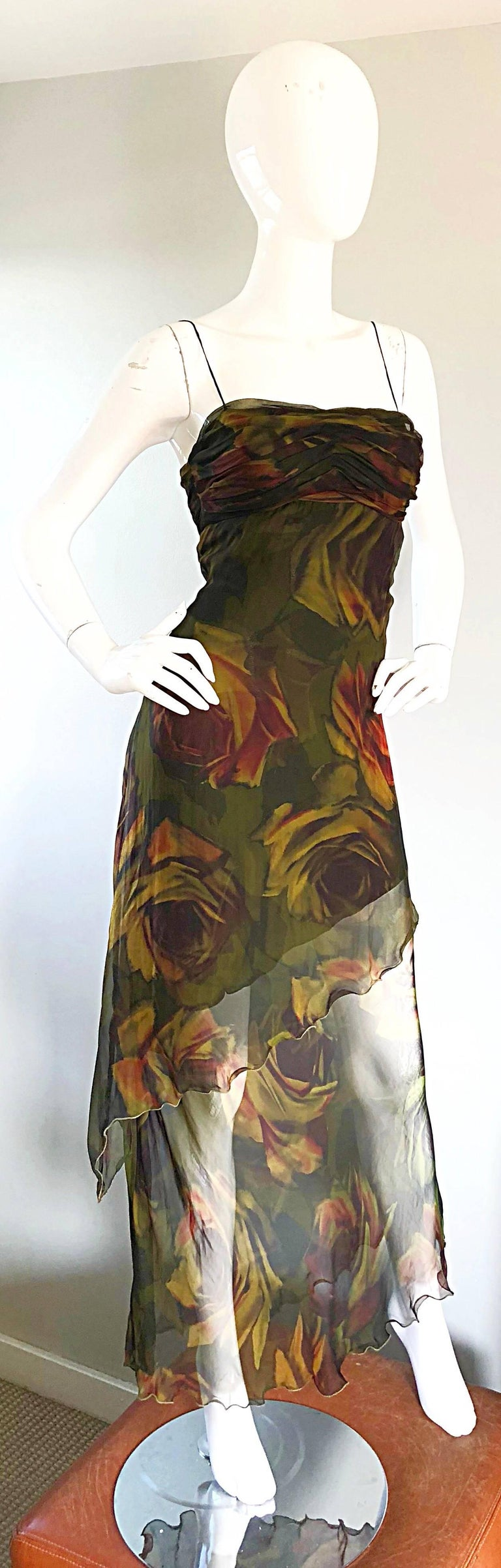 Women's 1990s Luca Luca Silk Chiffon High - Low Rose Print Semi Sheer Vintage 90s Gown For Sale