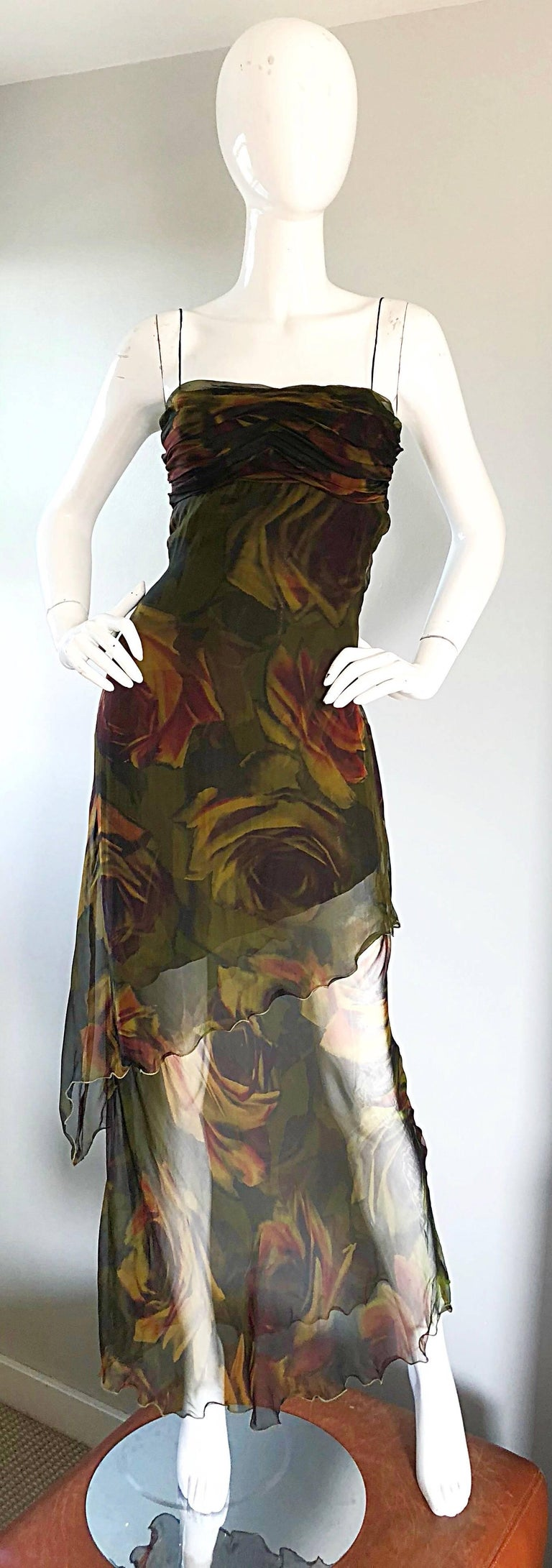 Brown 1990s Luca Luca Silk Chiffon High - Low Rose Print Semi Sheer Vintage 90s Gown For Sale