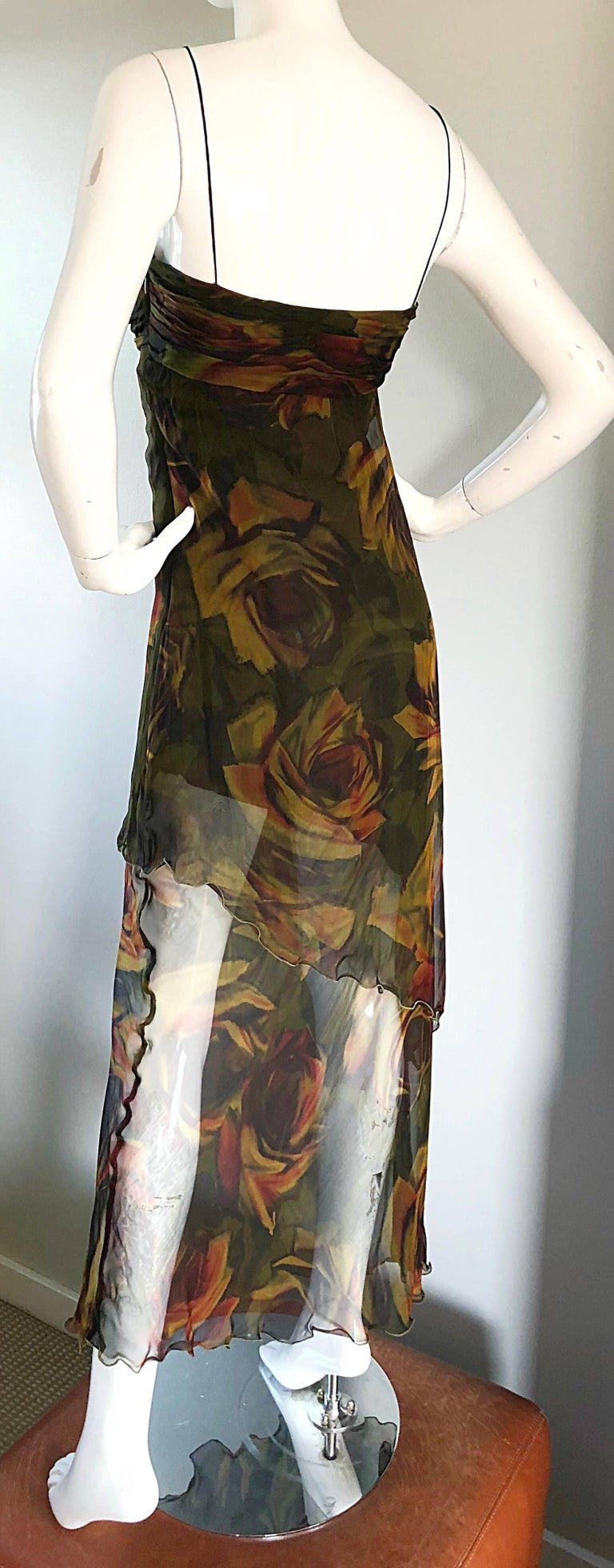 1990s Luca Luca Silk Chiffon High - Low Rose Print Semi Sheer Vintage 90s Gown For Sale 2