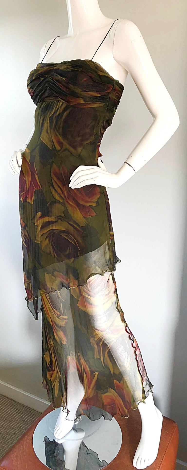 1990s Luca Luca Silk Chiffon High - Low Rose Print Semi Sheer Vintage 90s Gown In Excellent Condition For Sale In Chicago, IL