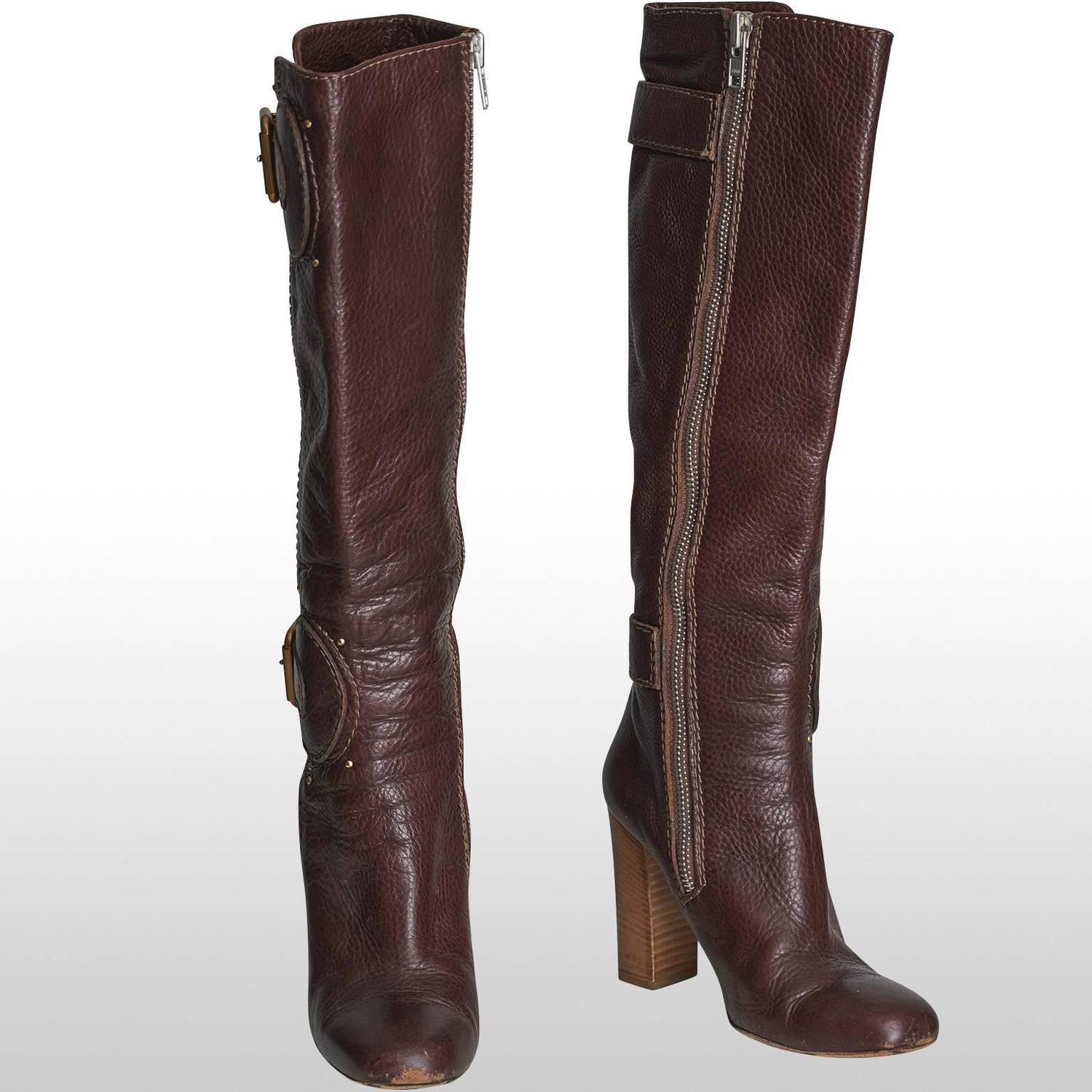 chlo 233 leather brown knee length boots approx size uk
