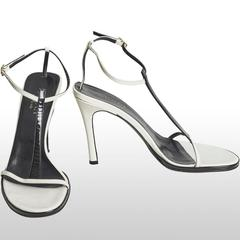 Gucci Black and White Strappy Heeled Sandals Approx Size UK 6