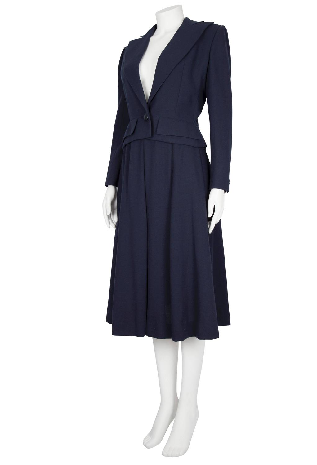 s s 1983 couture navy wool crepe pleated skirt and