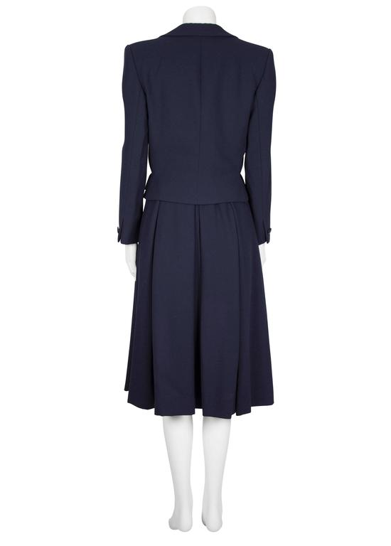 S/S 1983 Dior Couture Navy Wool Crepe Pleated Skirt and ...