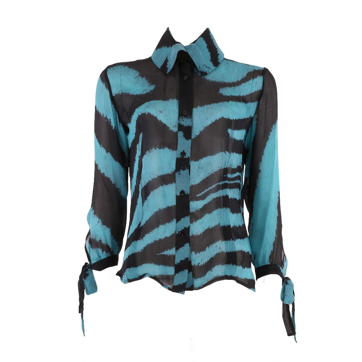 Zebra Blouse With Green Cuffs 42