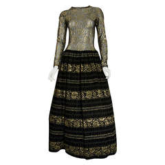 1960's Arnold Scaasi Couture Black & Gold Metallic Lace Gown