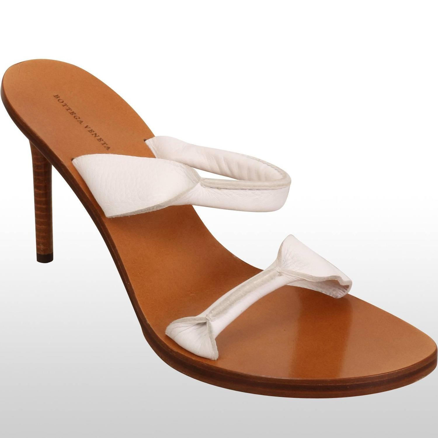 Bottega Veneta White Strap Mule Shoes For Sale At 1stdibs