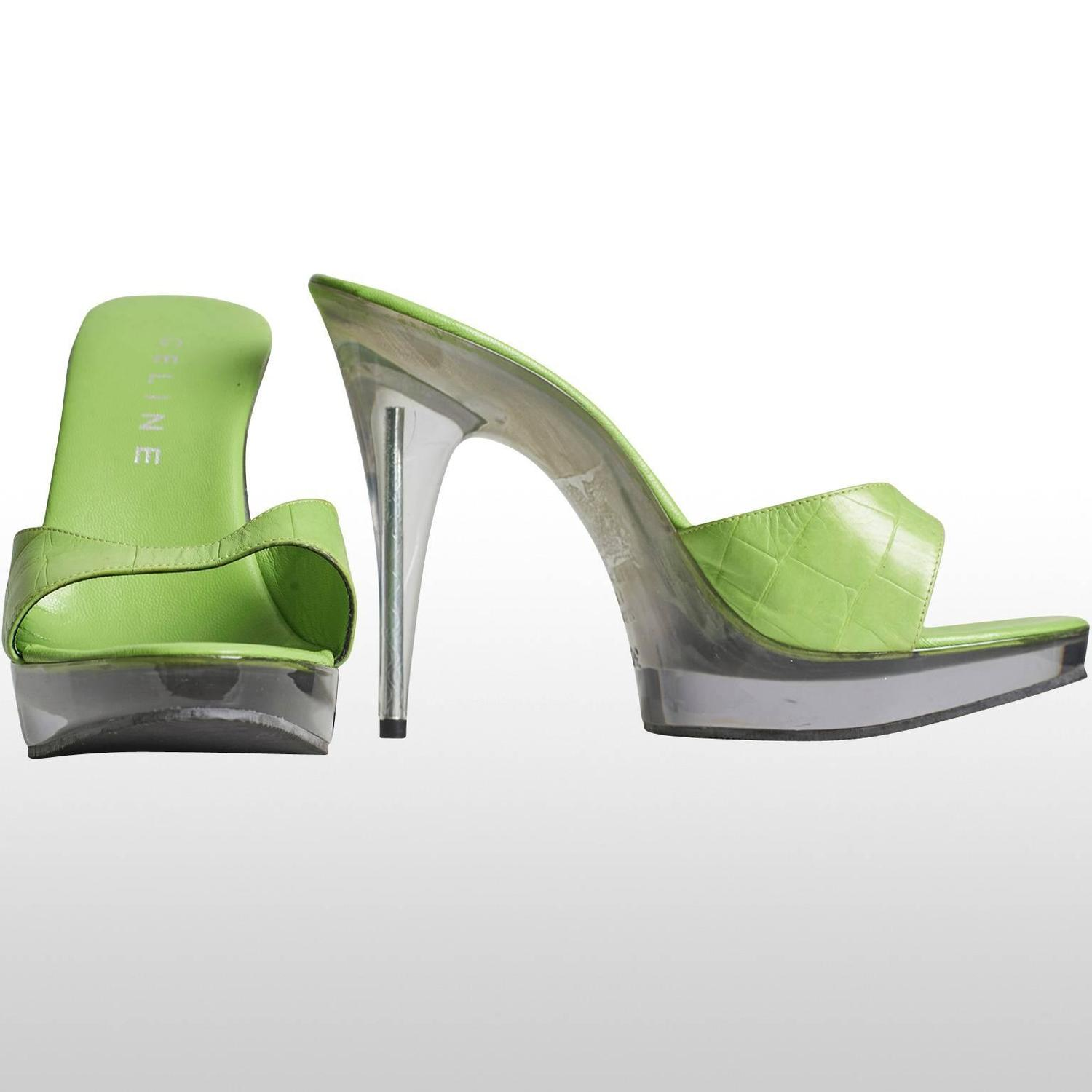 lime green heel with plastic platform and heel for