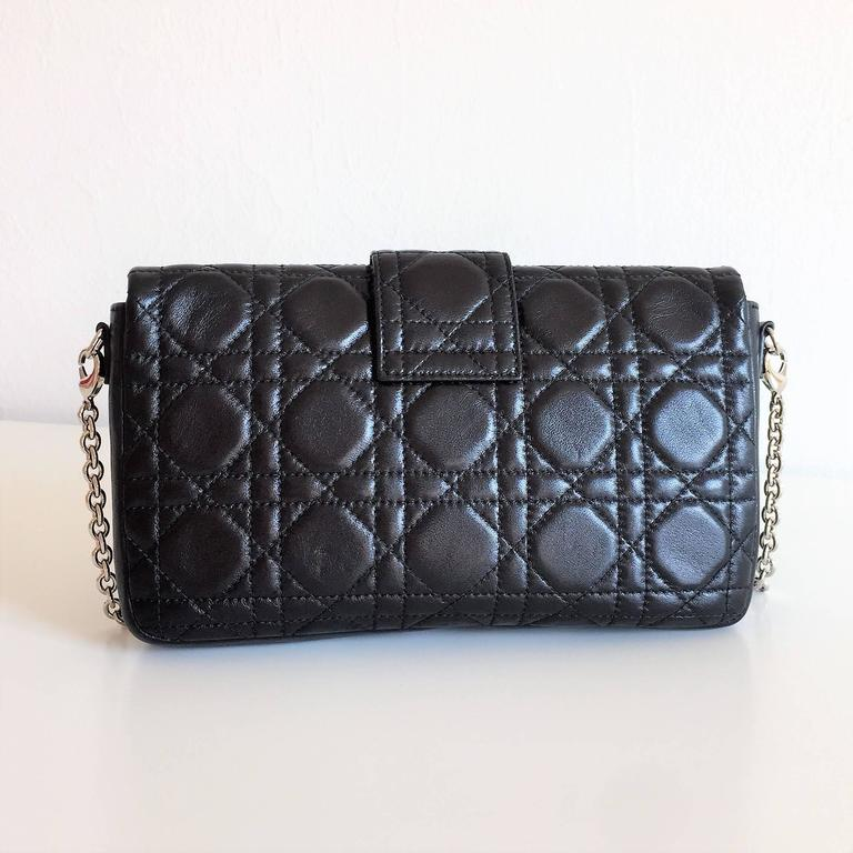 Miss Dior Lock Promenade Black Leather Pochette Wallet on ...
