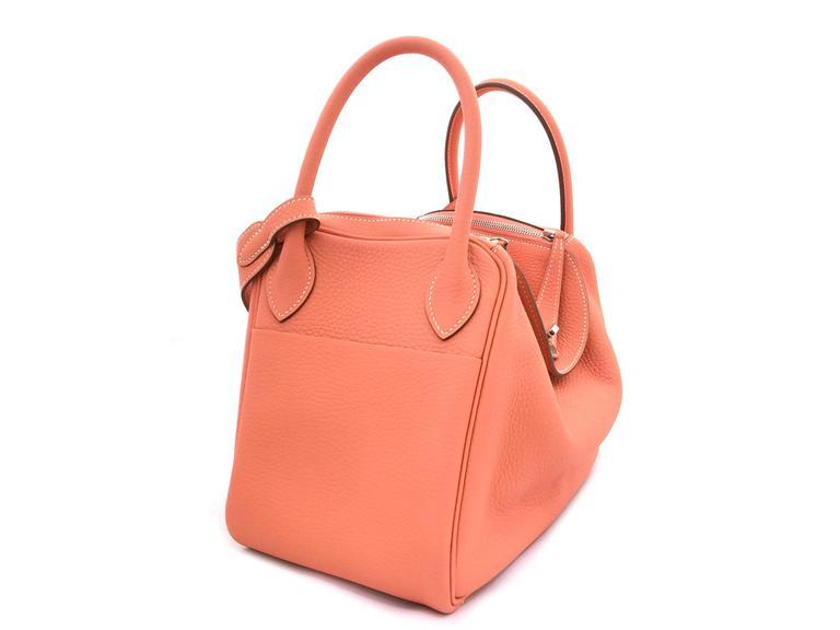 Hermes Lindy 30 Flamingo Clemence Leather SHW Shoulder Bag 3