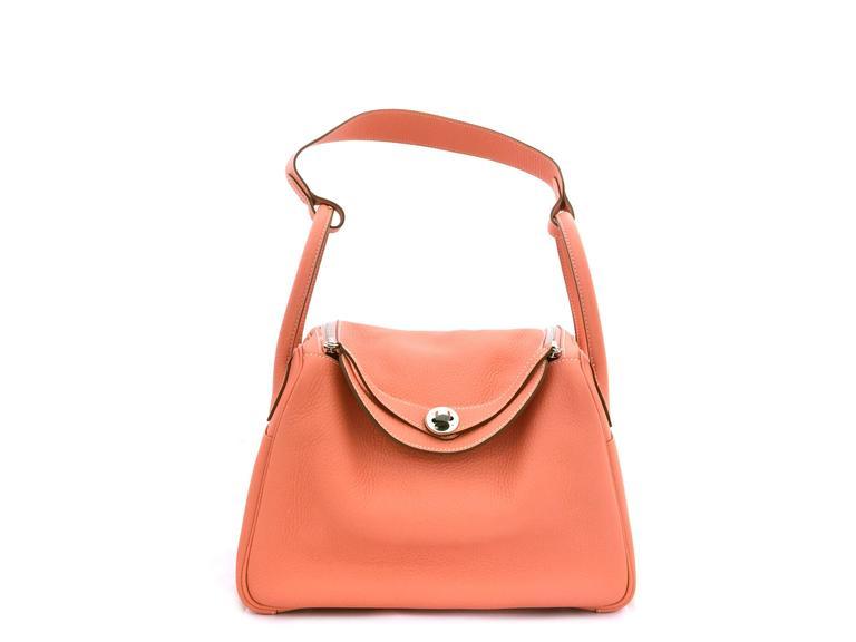 Hermes Lindy 30 Flamingo Clemence Leather SHW Shoulder Bag 2