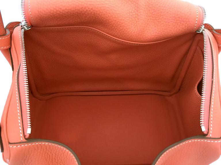 Hermes Lindy 30 Flamingo Clemence Leather SHW Shoulder Bag 8