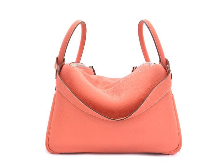 Hermes Lindy 30 Flamingo Clemence Leather SHW Shoulder Bag 4