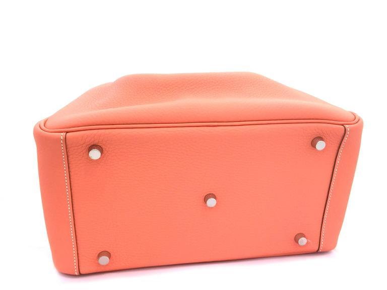 Hermes Lindy 30 Flamingo Clemence Leather SHW Shoulder Bag 5