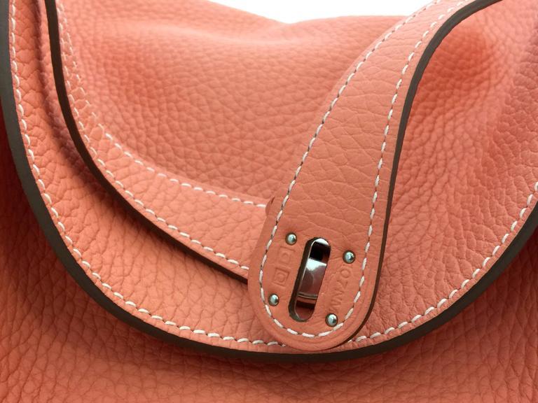 Hermes Lindy 30 Flamingo Clemence Leather SHW Shoulder Bag 6