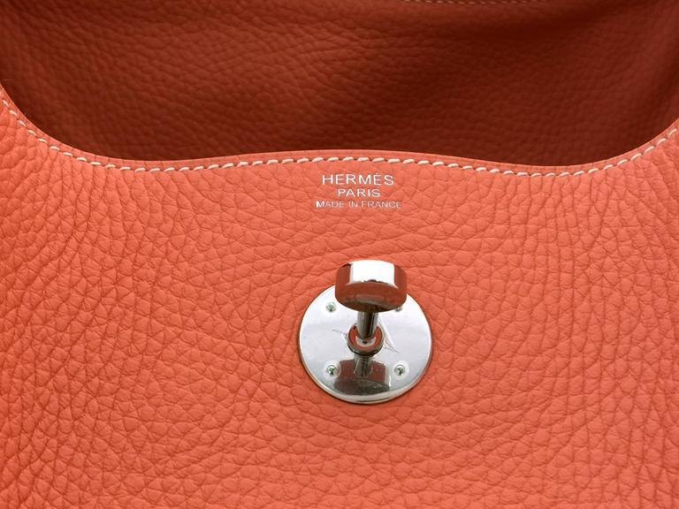 Hermes Lindy 30 Flamingo Clemence Leather SHW Shoulder Bag 7