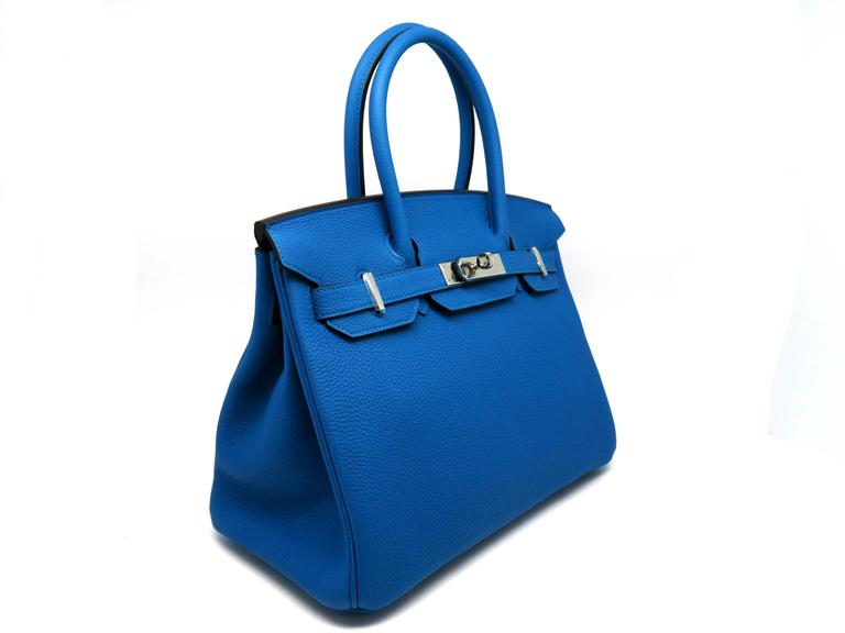 Hermes Birkin 30 Bleu Zanzibar Blue Togo Leather SHW Top Handle Bag 2