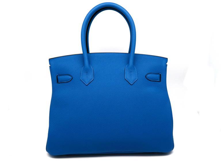 Hermes Birkin 30 Bleu Zanzibar Blue Togo Leather SHW Top Handle Bag 3