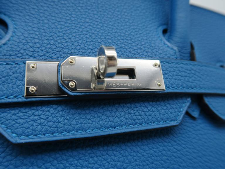 Hermes Birkin 30 Bleu Zanzibar Blue Togo Leather SHW Top Handle Bag 4