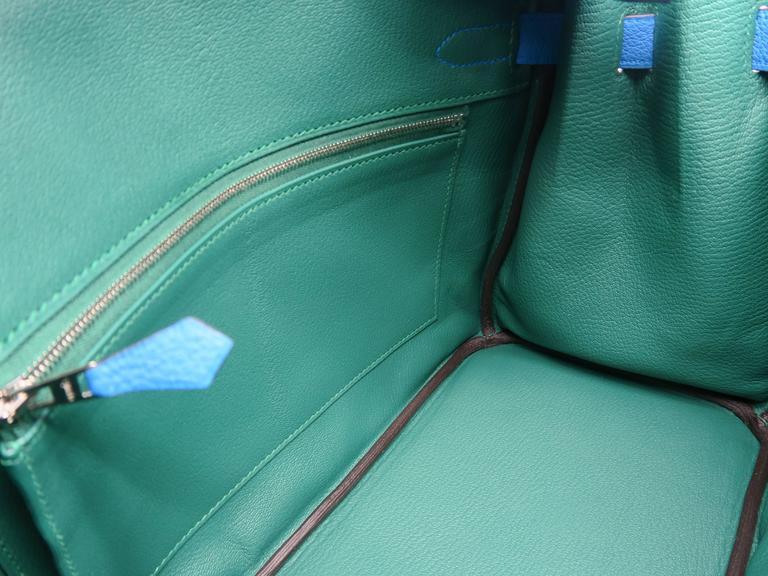 Hermes Birkin 30 Bleu Zanzibar Blue Togo Leather SHW Top Handle Bag 9
