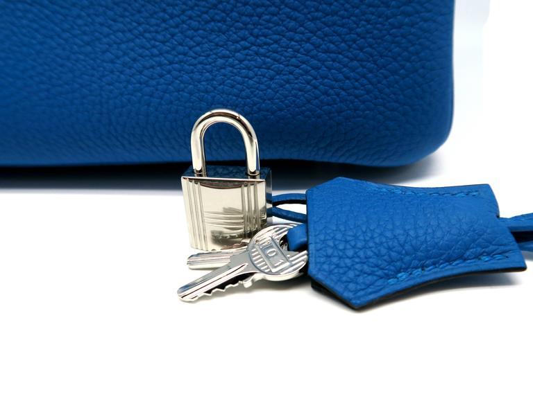 Hermes Birkin 30 Bleu Zanzibar Blue Togo Leather SHW Top Handle Bag 7