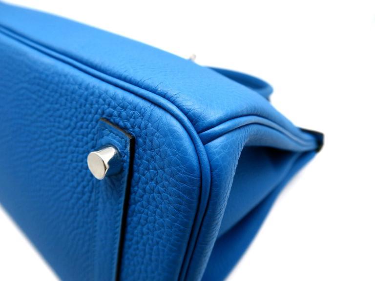 Hermes Birkin 30 Bleu Zanzibar Blue Togo Leather SHW Top Handle Bag 6