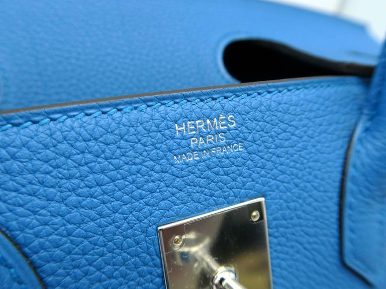 Hermes Birkin 30 Bleu Zanzibar Blue Togo Leather SHW Top Handle Bag 5