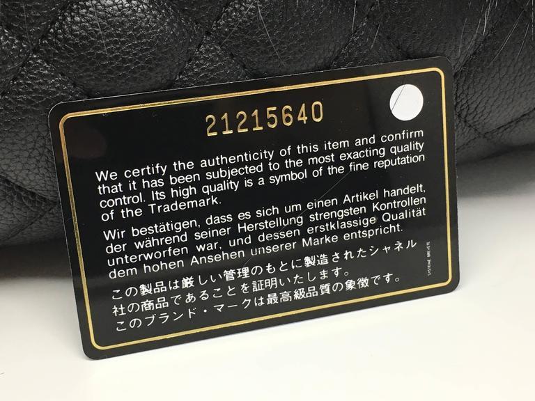 Chanel Black Calfskin Leather / Fur Chain Shoulder Bag 10