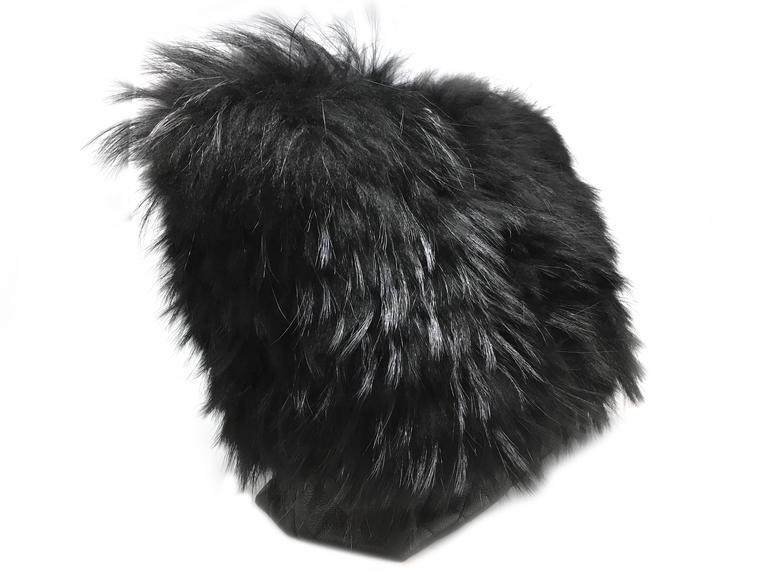 Chanel Black Calfskin Leather / Fur Chain Shoulder Bag 2