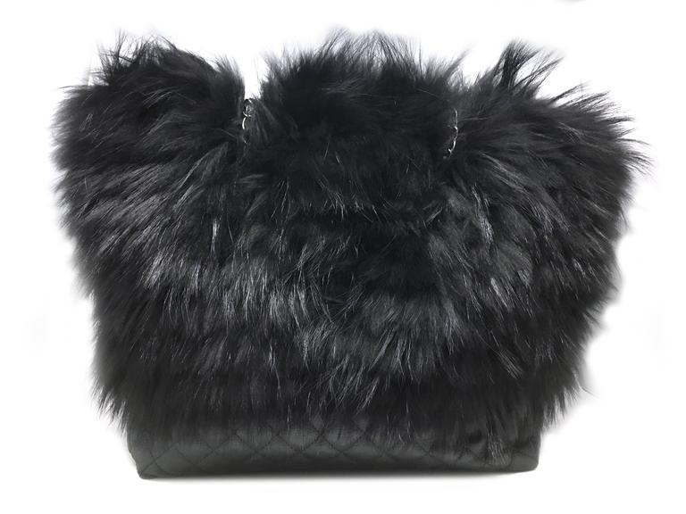 Chanel Black Calfskin Leather / Fur Chain Shoulder Bag 3