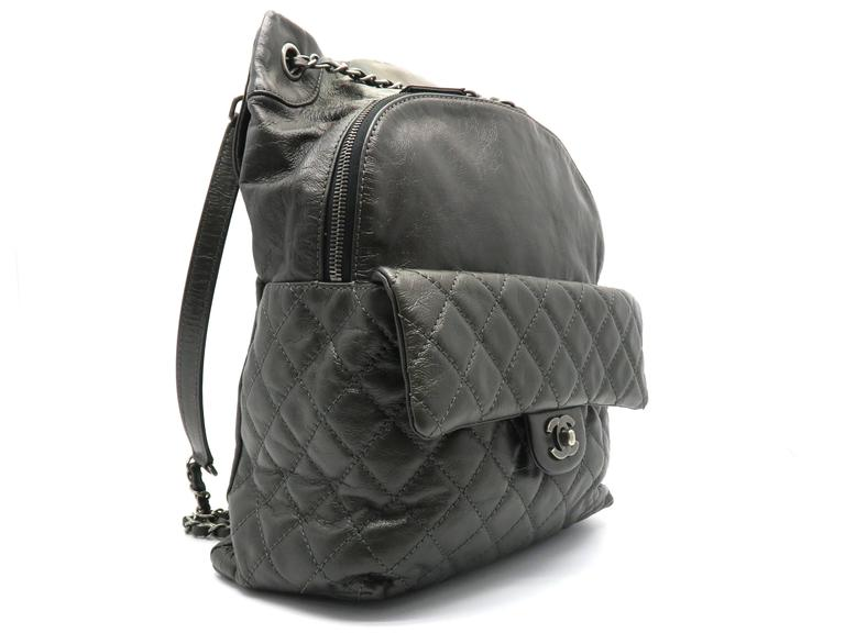 Chanel Dark Green Calfskin Leather Backpack 2